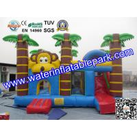 Quality Trees Themed Inflatable Bouncy Castle With Slide / Monkey Moonwalk Moon Bounce for sale