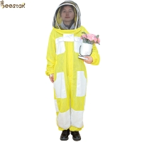 Quality 3 Layer Yellow Beekeeping Outfits Ventilated Apicultura Bee Jacket Beekeeping Suit for sale