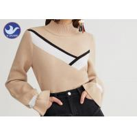 Mock Neck Fashion Womens Knit Pullover Sweater Computer Machine Knit Manufactures