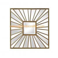 Living Room Square Antique Gold Sunburst Mounted Modern Metal  Wall Mirror Manufactures