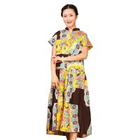 Traditional Chinese Women'S Dress , Ladies Long Cotton Dresses Stand Neckline Manufactures