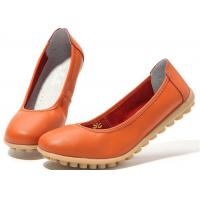 Low Heeled Leather Comfortable Casual Shoes Flat Gum Rubber Outsole Womens Shoes Manufactures