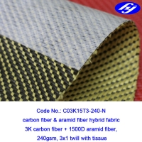 Buy cheap 3x1 Twill Aramid Fiber Fabric 240GSM With Anti Dispersing Linning from wholesalers