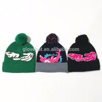 Polyester Cotton Jacquard Embroider 2017 Cartoon  Winter Knitting Hats 20*24cm 95g Plain Dyed Customized Manufactures