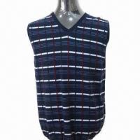 China 2013 Men's Sweater/Vest with Intarsia Pattern, Made of 100% Wool on sale