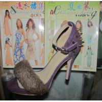 China 2014 Fashion sexy High heel sandal with rivets & fur accessories, lady elegant party shoes on sale
