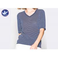 Shinny Micro Lurex Womens Knit Pullover Sweater V Neck Small Stripes Slim Manufactures
