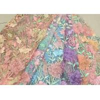 Bead Embroidered Lace Fabric, Scalloped Multi Color 3D Flower Lace Fabric For Dress Manufactures