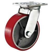 Red Heavy Duty Swivel Plate Caster Wheel / 6 Inch Caster Wheels Polyurethane On Iron Manufactures