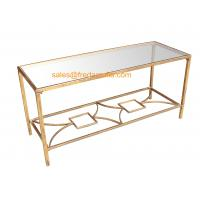 FR-15112  Metal Framed Gold Foil Coffee Table with Mirror Top For Home and Hotel Manufactures
