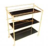 Custome Design Gold Leaf Finish Modern Design Cheap Bamboo Iron Frame with Black Mirror Bar Cart on Wheels Manufactures