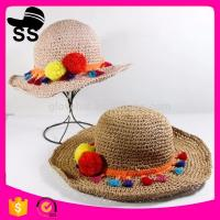 New Flower Girl Plain Dyed 100%polyester 56-58cm Summer Fancy Paper Promotional Straw hats Manufactures