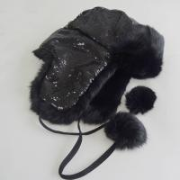 Plain Customized Animal Fur Hats , Plush Style Shearling Sheepskin Hat Manufactures