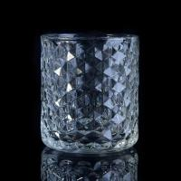 China Popular Home use candle glass containers Custom Clear Diamond Shape on sale