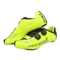 Fluorescent Yellow Cycling Shoes / Carbon Fiber High Stiffness Light Weight Bike Shoes Manufactures