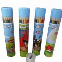 Environmental protective wooden color pencils/gift pencils with crayon lead, 12 pieces/iron tube box Manufactures