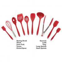 Customized Logo Print Silicone Kitchen Utensils Soft Food Grade Safe Colorful Red Color Manufactures