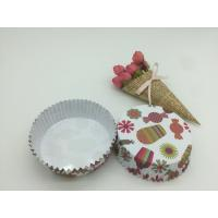 Round Shape Paper Baking Cups PET Coated Film Candy / Flower Pattern Cupcake Liners Manufactures