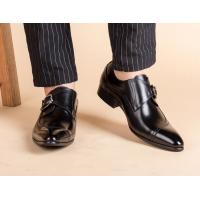Round Toe Black Derby Mens Leather Dress Shoes With Buckle Banquet Oxford Manufactures