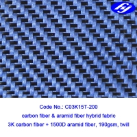 Twill Woven Blue Carbon Aramid Fabric / 2x2 0.28MM Thickness Carbon Kevlar Fabric Manufactures