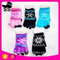 2017Yiwu new product 90%Acrylic 5%Spandex 5%Conductive fiber Winter Knitting touch screen gloves 20*11.5cm 53g Jacquard Manufactures