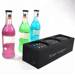 Custom Plexiglass Led Liquor Bottle Display 3 - Bottle Led Acrylic Wine Rack Manufactures