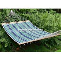 Quality 13 Ft Foldable  Sleeping Double Fabric Hammock With Spreader Bar Green Blue Strip for sale