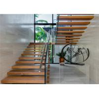 Buy cheap Concealed Keel Floating Steps Staircase With Tempered Glass Railing Systems from wholesalers