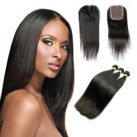 Buy cheap 10A Straight Human Hair Extensions , Natural Black Unprocessed Brazilian Human from wholesalers