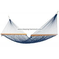 Adult Kids Travel Simple Rope Hammock With Solid Hardwood Bars Blue All Weather Manufactures