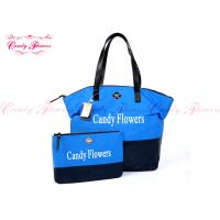 China Blue and Black big cloth tote bags for women , shoulder tote bags on sale