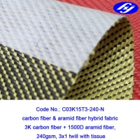 3x1 Twill Aramid Fiber Fabric 240GSM With Anti Dispersing Linning Manufactures