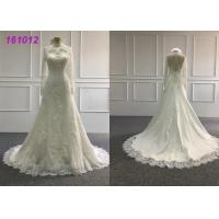 Quality Vintage High Neck A Line Ball Gown Wedding Dress With Long Sleeves Zipper Back for sale