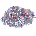 Custom Size Stick On Rhinestones  , Round Shape Glass Crystal Rhinestones Manufactures