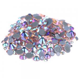 Custom Size Stick On Rhinestones  , Round Shape Glass Crystal Rhinestones