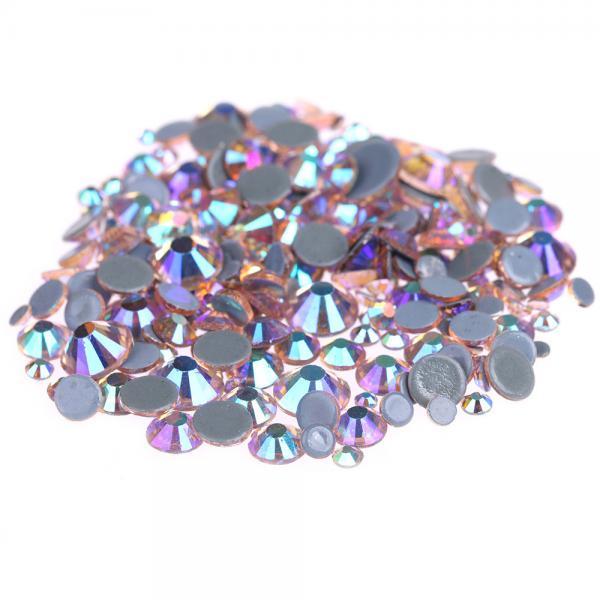 Quality Custom Size Stick On Rhinestones  , Round Shape Glass Crystal Rhinestones for sale