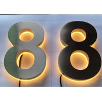 Stainless Steel Channel Letter Signs 3D Backlit Number Illuminated Brushed Polish Manufactures