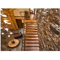 Simple Design Floating Steps Staircase With 50mm Solid Wooden Tread / 84mm Wooden Box Tread Manufactures