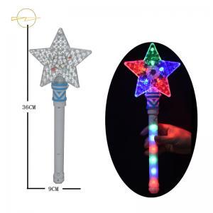 China Rainbow Flashing Star Wand Light Up / Plastic Glow Stick Wand Star For Holiday on sale