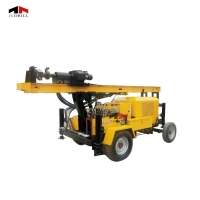 Portable Trailer Mounted Hydraulic 44KW Small Well Drilling Rig Manufactures