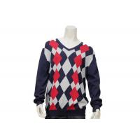 Argyle Mens Casual Sweater Intarsia Knitting Patterns V Neck Knitted Jumper Manufactures