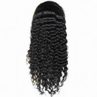 """Full Lace Brazilian Virgin Human Hair Wig, 18"""", 27/30# Wave, Ideal for Black Women in Stock List Manufactures"""