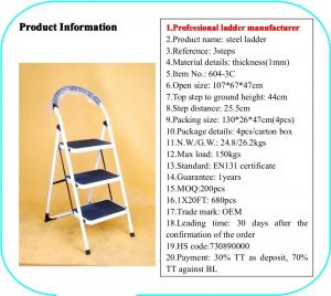 Non Slip 3 Step 0.8mm Double Sided A Frame Ladder Manufactures