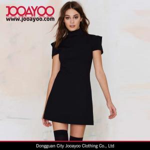 China Women Latest short Sleeve Little Black Mini Dress Design on sale