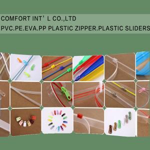 Garments Accessories PVC PE EVA PP Transparent Plastic Zipper Plastic Sliders Manufactures