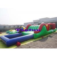 Customized Inflatable Water Parks Obstacle / Inflatable Water Slide With Pool Manufactures