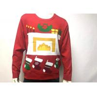 Mens Cotton Print Fireplace Ugly Christmas Jumper Crew Neck Long Sleeve Manufactures