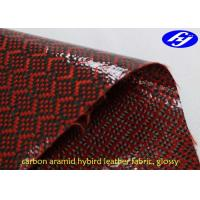Glossy Red Polyurethane Leather Fabric / Carbon Kevlar Hybrid Fabric 0.63MM Thickness Manufactures