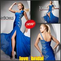 China 2013 Designer Custom A-line One Shoulder Crystal Blue Chiffon Evening Dresses Online on sale