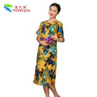 Flower Printed Long Casual Summer Dresses With Short Sleeves 100% Cotton Material Manufactures